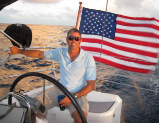 Captain Jason Carter on Survivan sailing from St John USVI