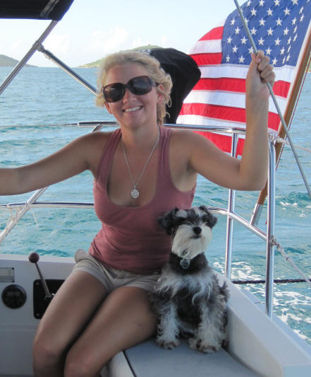 Madison Olson and Triton the sailing dog